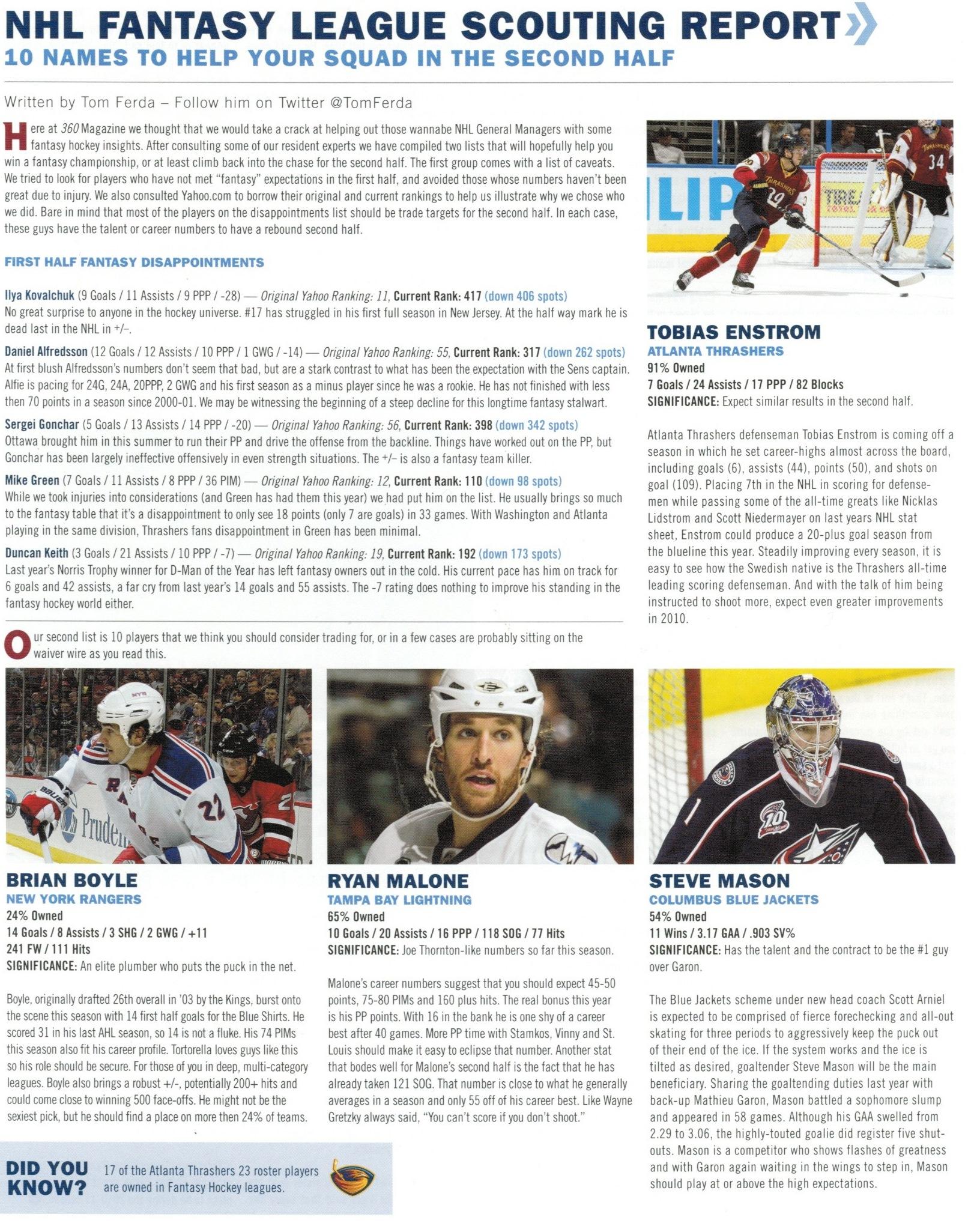 NHL Fantasy Bios